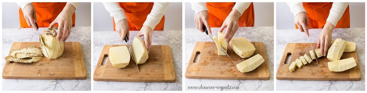 5. Obranego ze skóry ananasa przekrój wzdłuż na ćwiartki. 6. Pocięte ćwiartki postaw pionowo na desce i jednym cięciem noża wzdłuż kawałków owoca, wytnij część twardego rdzenia. 7. Pokrój owoc na mniejsze kawałki. Gotowe! Prawda, że proste?-1