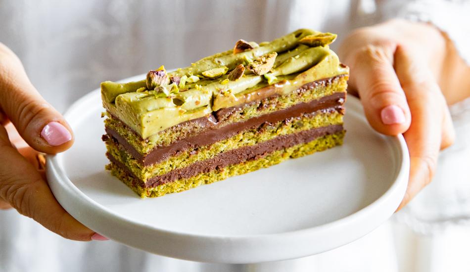 Ciasto pistacjowe z czekoladą